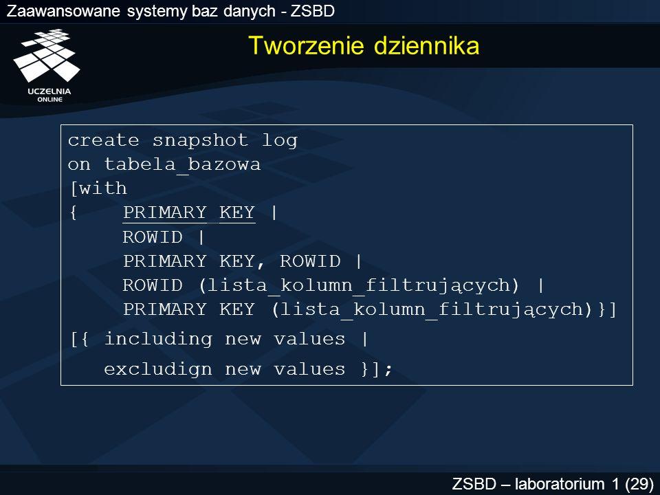 Tworzenie dziennika create snapshot log on tabela_bazowa [with